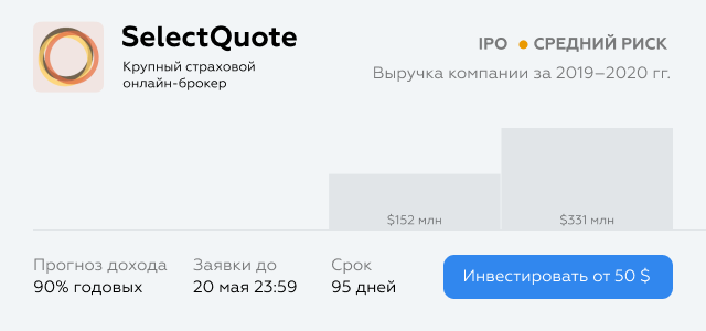 Investment idea card on the platform